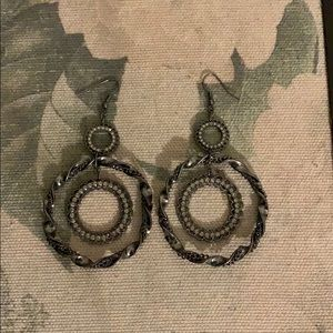 Earrings with crystal accents.